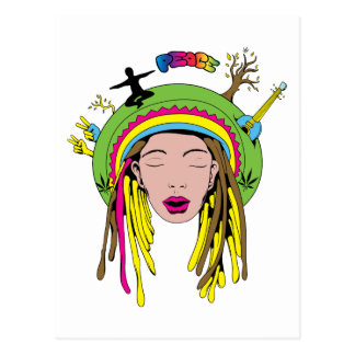 Peace Sign ~ 60s Hippie Girl Tie Dye Postcard