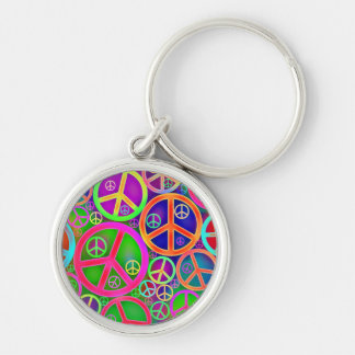 Peace Sign Abstract Art Keychain