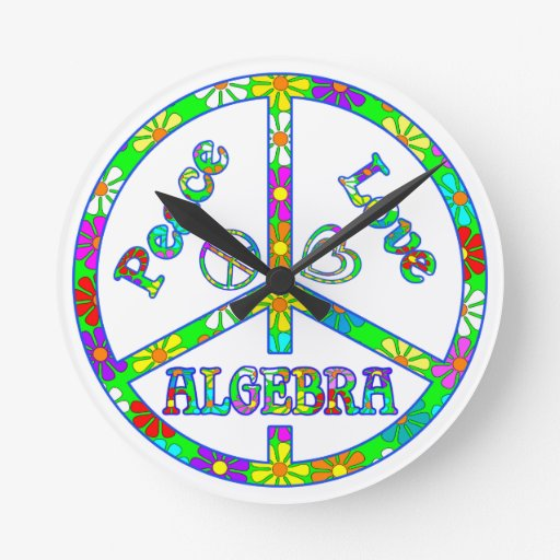 Peace Sign Algebra Round Wall Clocks