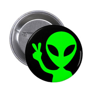 Peace Sign Alien 2 Inch Round Button