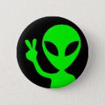 Peace Sign Alien Button