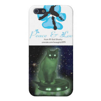 Peace sign + Alien Cat on UFO Cover For iPhone SE/5/5s