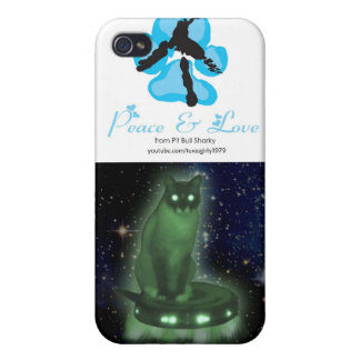 Peace sign + Alien Cat on UFO Cover For iPhone 4