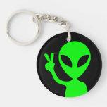 Peace Sign Alien Key Chain Acrylic Keychain