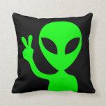 Peace Sign Alien Pillow