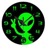 Peace Sign Alien Wall Clock