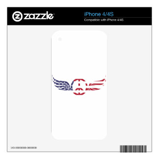 Peace Sign America Red White Blue Stars Usa Decals For The iPhone 4S