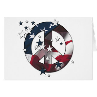 Peace Sign American Stars & Stripe Flag Card