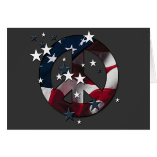 Peace Sign American Stars & Stripes Flag Card