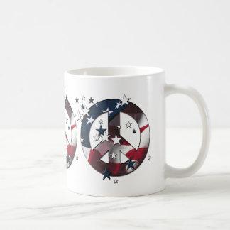 Peace Sign American Stars & Stripes Flag Coffee Mug