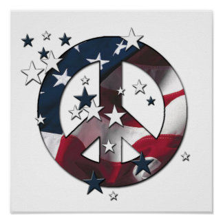 Peace Sign American Stars & Stripes Flag Poster