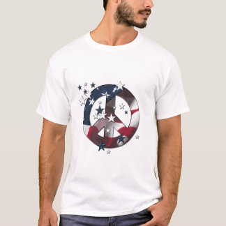 Peace Sign American Stars & Stripes Flag T-Shirt