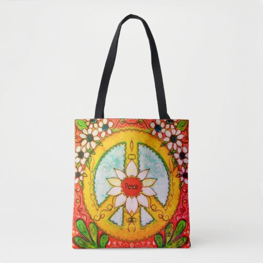 Peace Sign And Daisy Hippie Bohemian Love Tote Bag