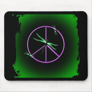 Peace Sign and Dragonfly Mouse Pad