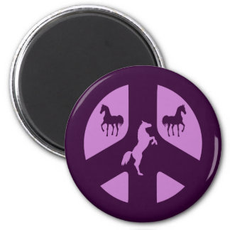 Peace Sign and Horses Refrigerator Magnet