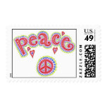 Peace Sign and Love Groovy Stamp