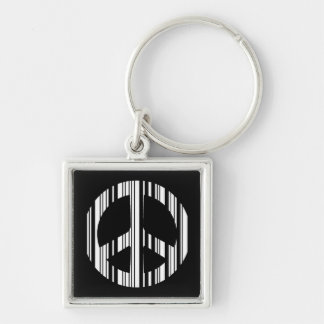 PEACE SIGN BAR CODE Hippie Barcode Pattern Design Silver-Colored Square Keychain