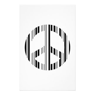 PEACE SIGN BAR CODE Hippie Barcode Pattern Design Stationery