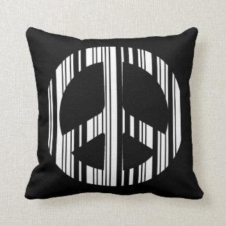 PEACE SIGN BAR CODE Hippie Barcode Pattern Design Throw Pillow