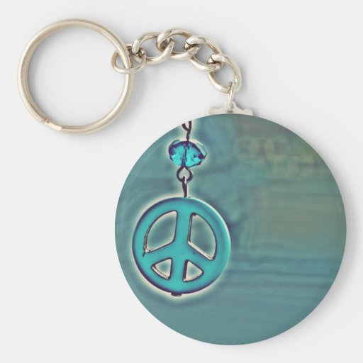 Peace Sign Basic Round Button Keychain
