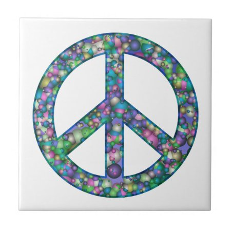 Peace Sign Baubles Fractal Ceramic Tile