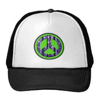 Peace sign, beads, round trucker hat