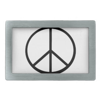 Peace sign rectangular belt buckles