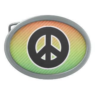 Peace Sign Oval Belt Buckle
