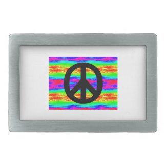 Peace Sign Rectangular Belt Buckle