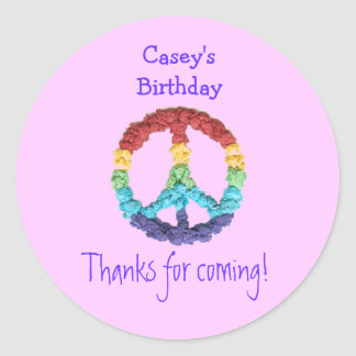 Peace sign birthday favor label classic round sticker