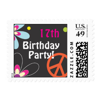Peace Sign Birthday Postage Stamp