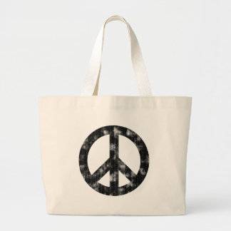 Peace Sign Black Distressed Bag