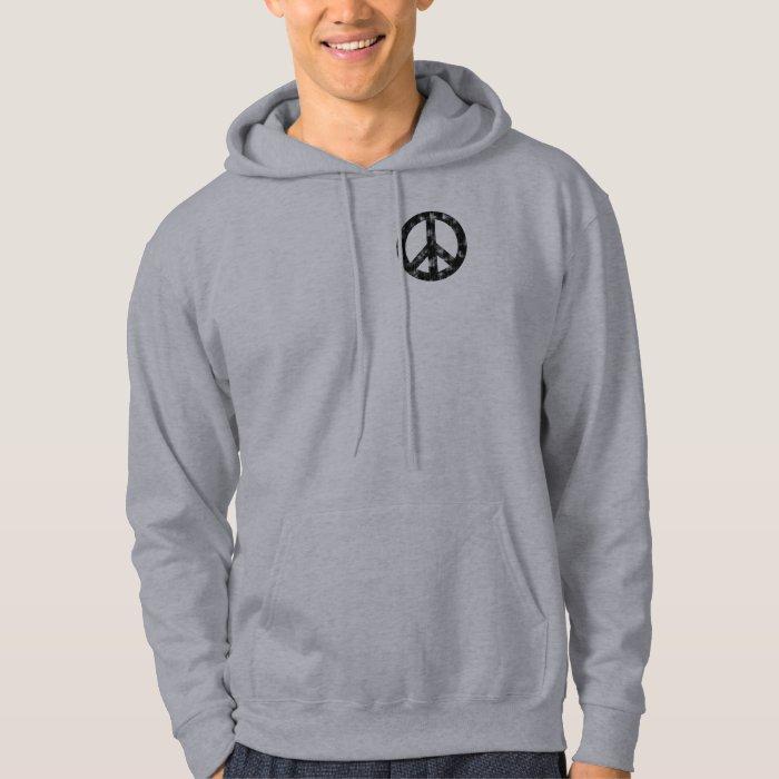 Peace Sign Black Distressed Hoodie