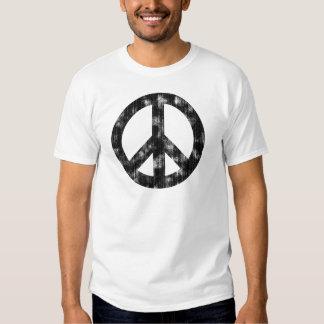 Peace Sign Black Distressed Tee Shirt