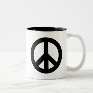 Peace Sign Black Two-Tone Coffee Mug