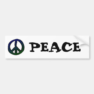 Peace Sign Blue and Green Car Bumper Sticker