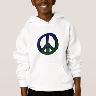 Peace Sign Blue and Green Hoodie