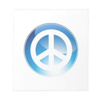 Peace Sign Blue Crystal Button Notepad