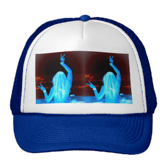 peace sign blue hippie girls trucker hat