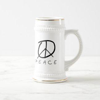 Peace Sign: Bud Hand Script Beer Stein