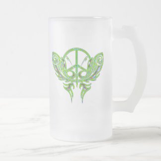 PEACE SIGN BUTTERFLY FROSTED GLASS BEER MUG