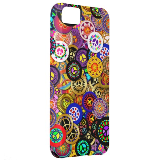 Peace Sign Buttons Collage iPhone 5C Cover