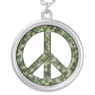 Peace Sign Camouflage Camo Silver Plated Necklace