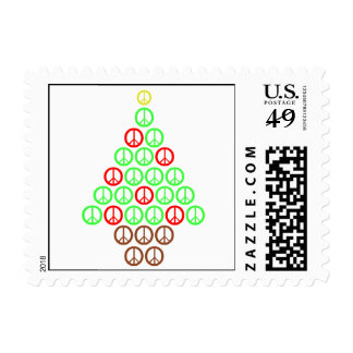 Peace Sign Christmas Tree Postage Stamps