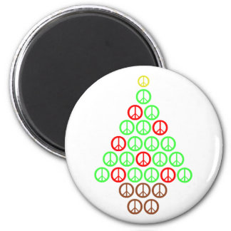 Peace Sign Christmas Tree Round 2 Inch Round Magnet
