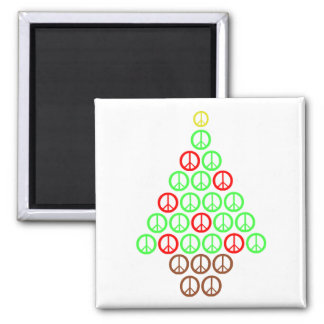 Peace Sign Christmas Tree Square 2 Inch Square Magnet