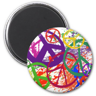 PEACE SIGN COLLAGE 2 INCH ROUND MAGNET