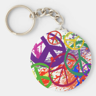 PEACE SIGN COLLAGE BASIC ROUND BUTTON KEYCHAIN