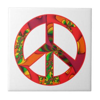 Peace Sign Color Me Bright #2 Ceramic Tile
