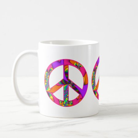 Peace Sign Color Me Bright Fractal Coffee Mug
